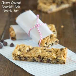Chewy Coconut Chocolate Chip Granola Bars - chewy granola bars with coconut and chocolate chips. Super easy to make, and great to have one hand for snacks, lunches or even breakfasts!