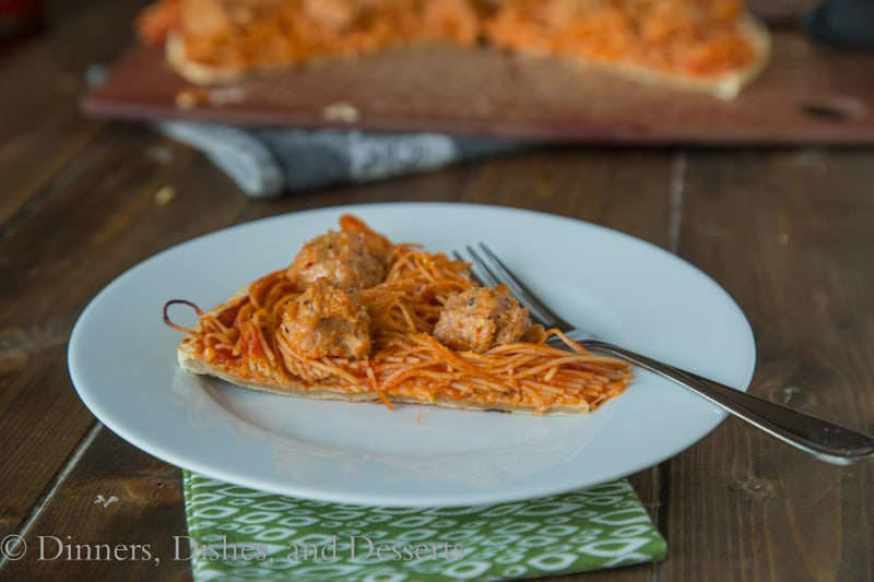 Spaghetti & Meatballs Pizza {Dinners, Dishes, and Desserts}