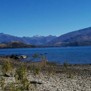 Walk down to the shores of Lake Wanaka New Zealand