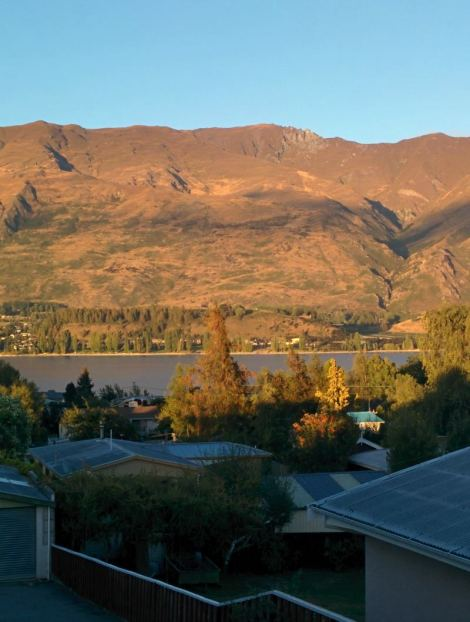 Gorgeous view from our balcony over Lake Wanaka in New Zealand