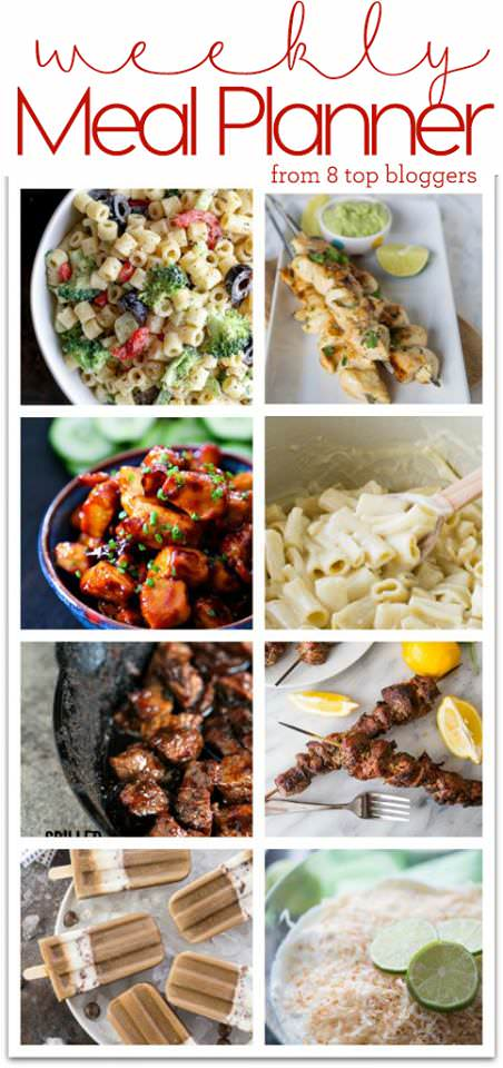 Weekly Meal Plan Week 1 - Top 8 bloggers sharing 6 dinner recipes and 2 desserts to make your week quick, easy, and delicious!