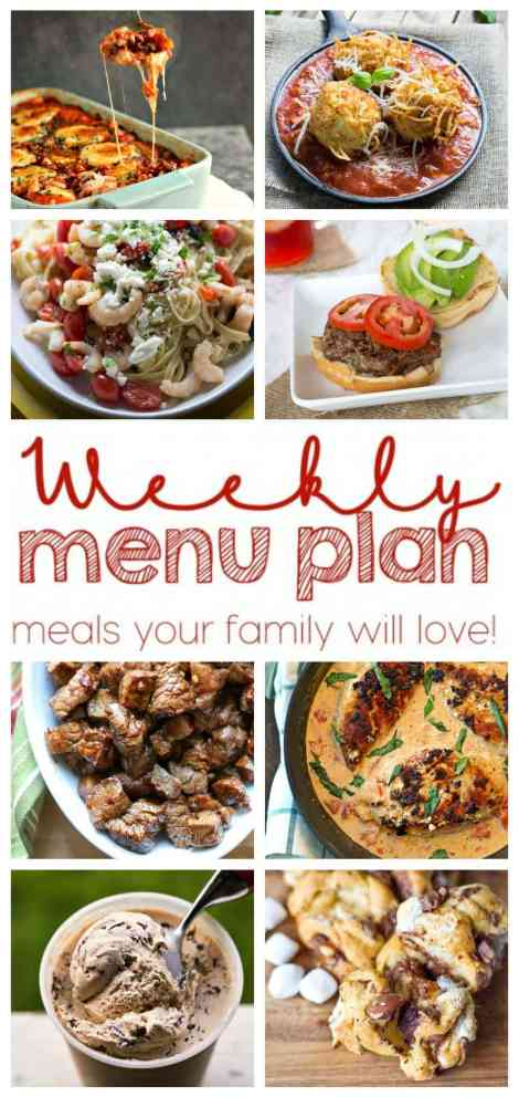 Weekly Meal Plan Week 4 - Making your week easy with 6 dinner recipes and 2 desserts.