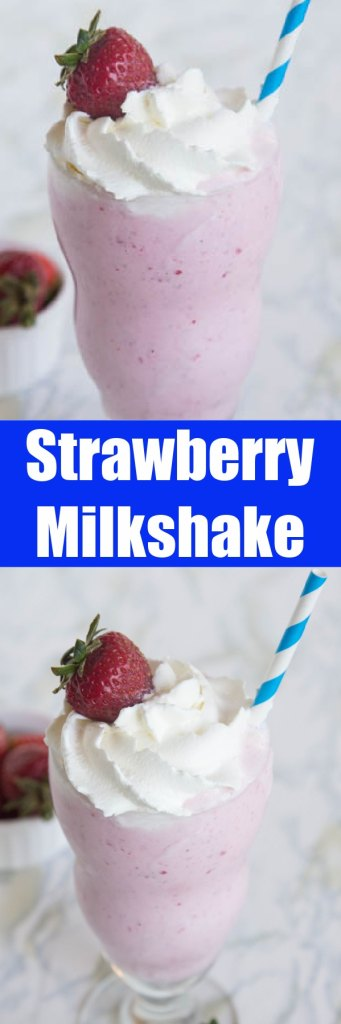 close up strawberry milkshakes in a glass with straw