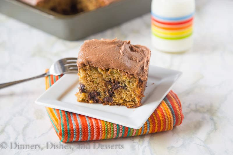 Chocolate Chip Zucchini Cake {Dinners, Dishes, and Desserts}
