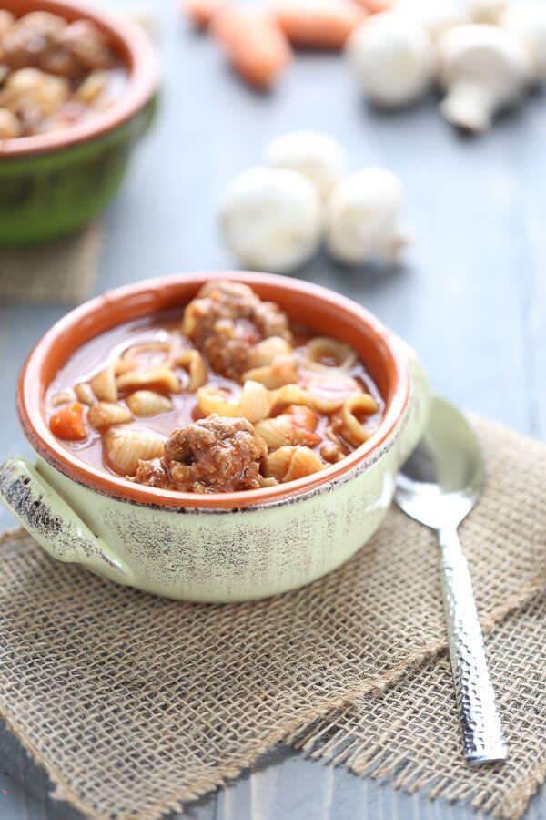 Easy Vegetable Soup with Meatballs {Lemons for Lulu}