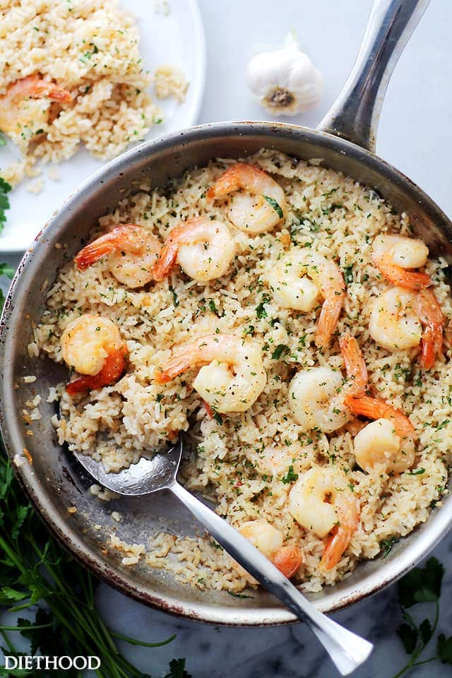 Garlic Butter Shrimp and Rice {Diethood}