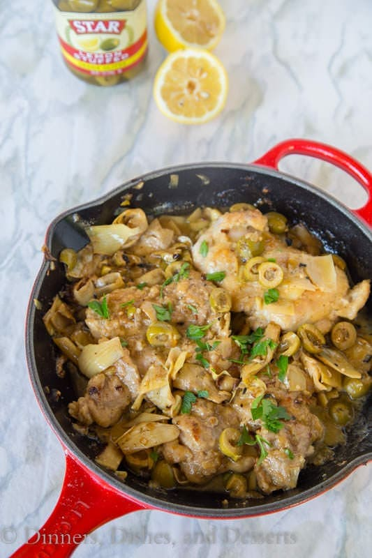 Lemon Chicken Skillet with Artichokes and Olives - a complete chicken dinner in one pan. Chicken thighs in a lemony sauce with artichokes and green olives.