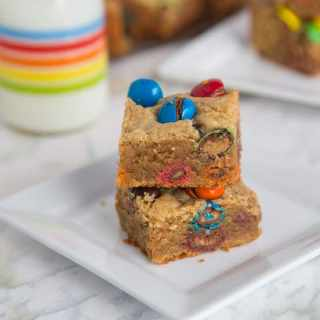 m&m peanut butter bars on a plate