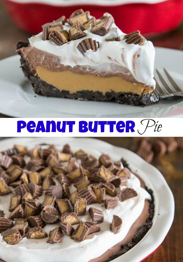 No Bake Peanut Butter Cup Pie - an easy no bake peanut butter pie that is like a giant homemade peanut butter cup!
