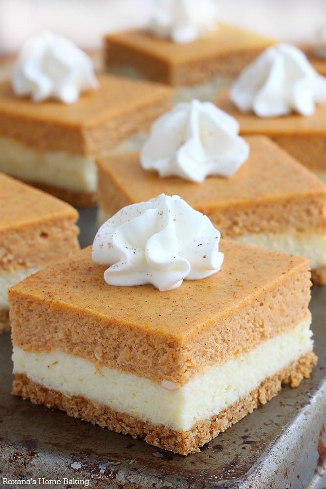 Pumpkin Cheesecake Bars {Roxana's Home Baking}