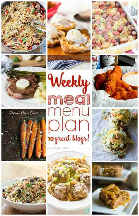 Weekly Meal Plan Week 16 - 10 great bloggers bringing you a full week of recipes including dinner, sides dishes, and desserts!
