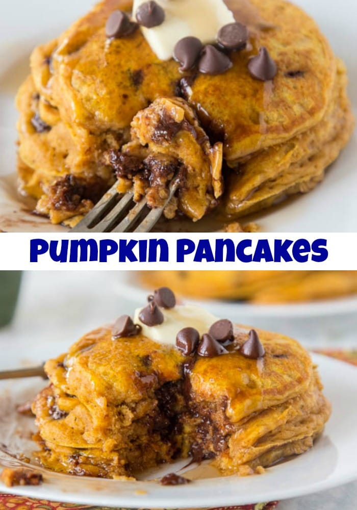 Chocolate Chip Pumpkin Pancakes - super light and fluffy pumpkin pancakes full with lots of chocolate chips and topped with maple syrup.