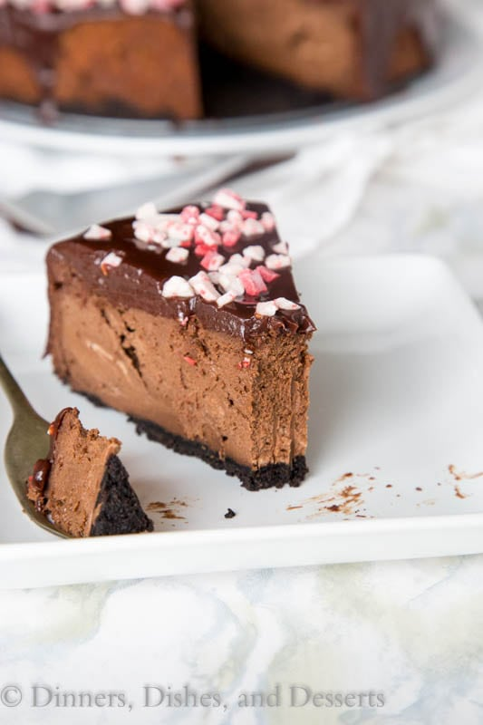 Peppermint Chocolate Cheesecake Recipe - a thick and creamy chocolate cheesecake with chocolate ganache and pieces of peppermint candy