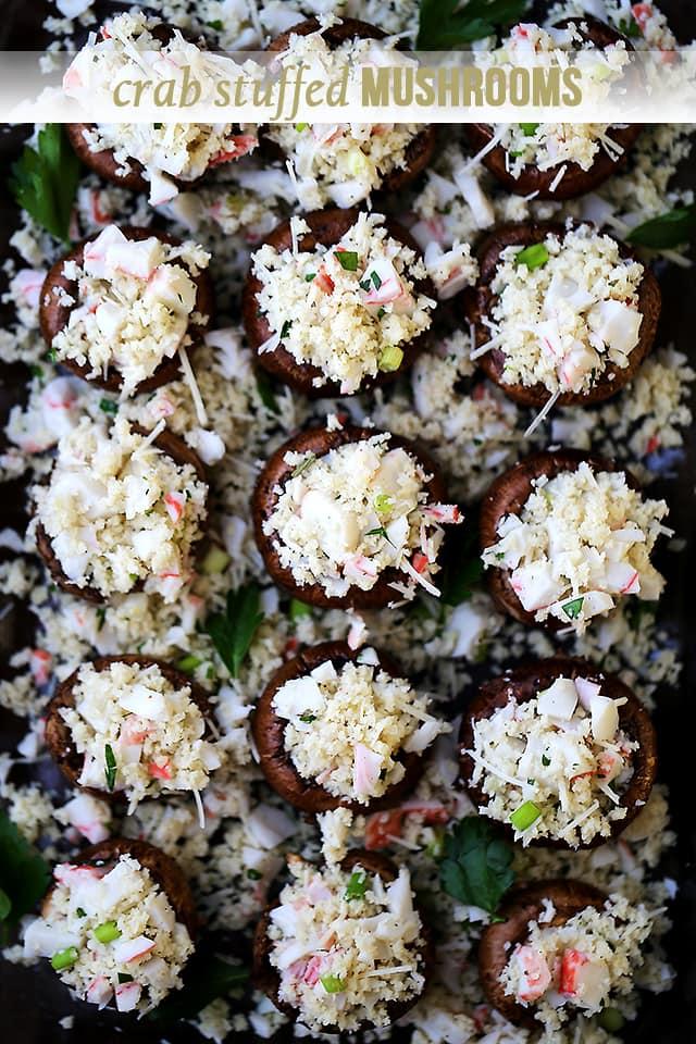 Crab Stuffed Mushrooms {Diethood}