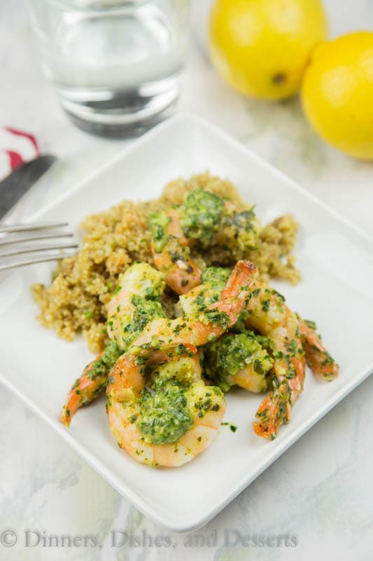 pan seared herb and shrimp on a plate