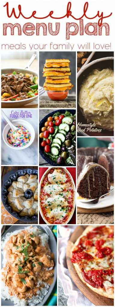 Weekly Meal Plan Week 26 - 10 great bloggers bringing you a full week of recipes including dinner, sides dishes, and desserts!