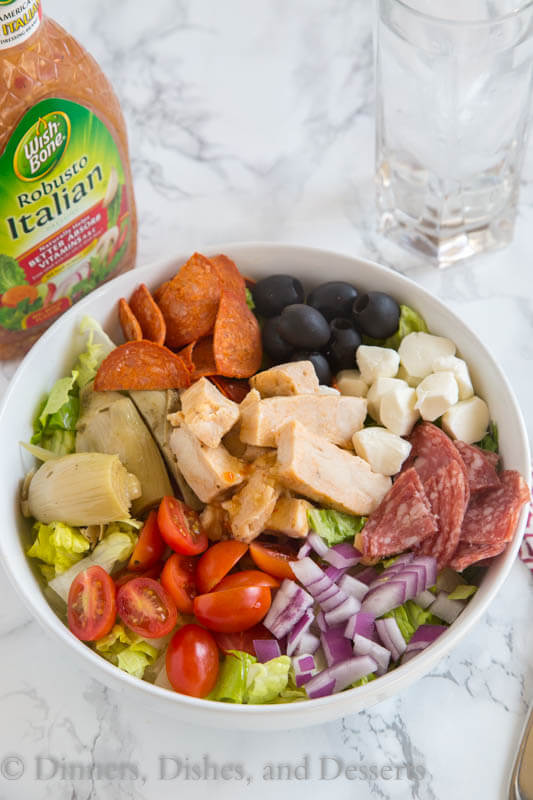 Grilled Chicken Antipasto Salad - An easy salad that comes together in minutes thanks to Tyson Chicken and Wishbone Italian Dressing.