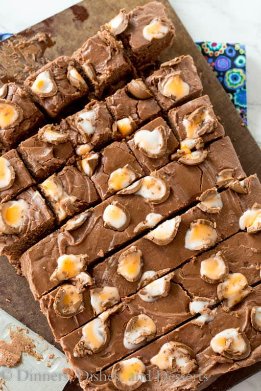 Creme Egg Fudge - the famous Cadbury Creme Eggs get mixed in with a rich and chocolate-y fudge to make it perfect for Easter.