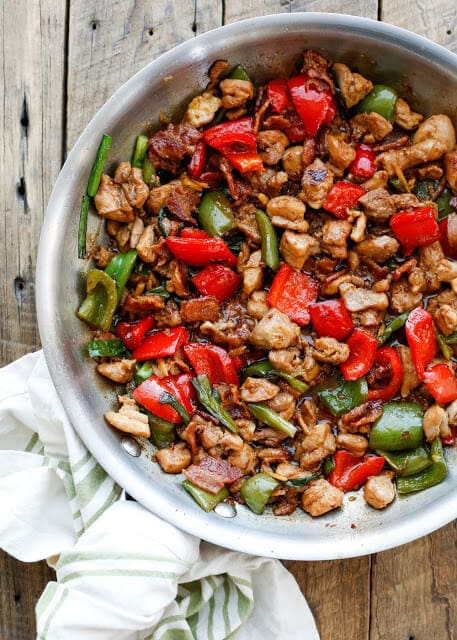Spicy Chicken and Bacon Stir-Fry {Barefeet in the Kitchen}