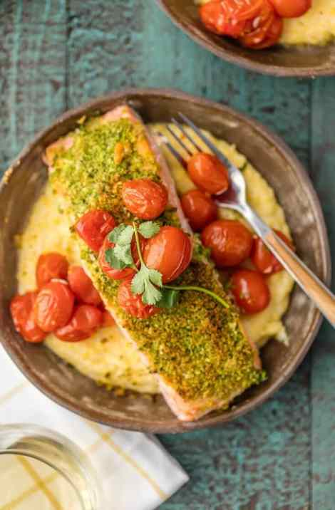 Herb Crusted Salmon with Goat Cheese Polenta {The Cookie Rookie}