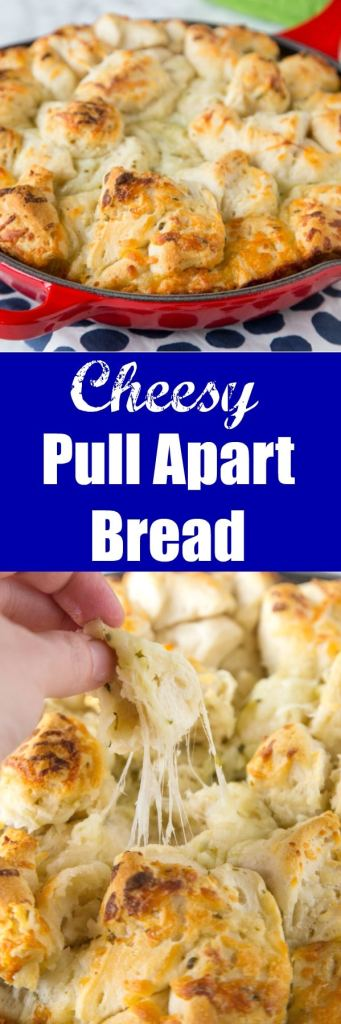 close up cheesy pull apart bread