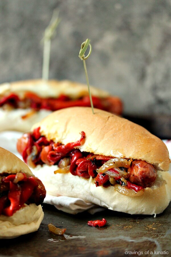 Grilled Sausage with Peppers and Onions {Cravings of a Lunatic}