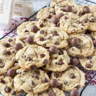 Malt Chocolate Chip Whopper Cookies - chewy chocolate chip cookies with a fun twist! Mix in malt powder and whoppers to make them just a little more fun!