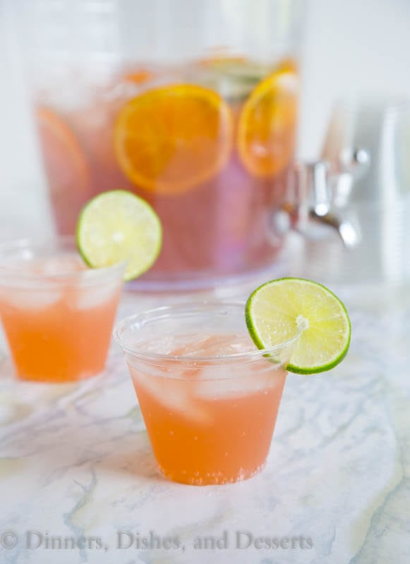 Party Punch - Just 3 ingredients to make this easy non-alcoholic punch recipe.  Great for parties, showers, weddings, or any get together.  Plus you can spike it for the grown ups!