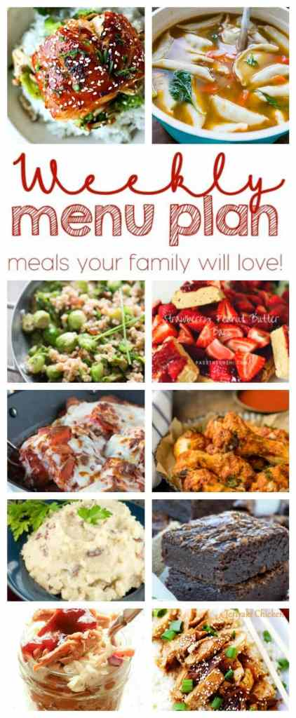 Weekly Meal Plan Week 40 - 10 great bloggers bringing you a full week of recipes including dinner, sides dishes, and desserts!