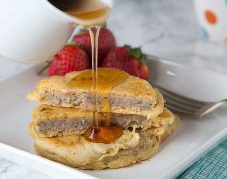 sausage pancakes on a plate