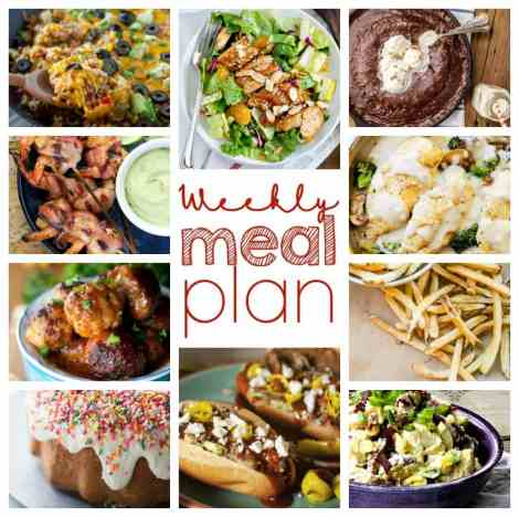 A bunch of different types of food, with Week and Plan