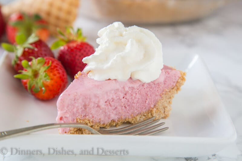 Strawberry Milkshake Pie - turn a classic strawberry milkshake into a creamy and delicious frozen pie! Complete with a waffle cone crust!