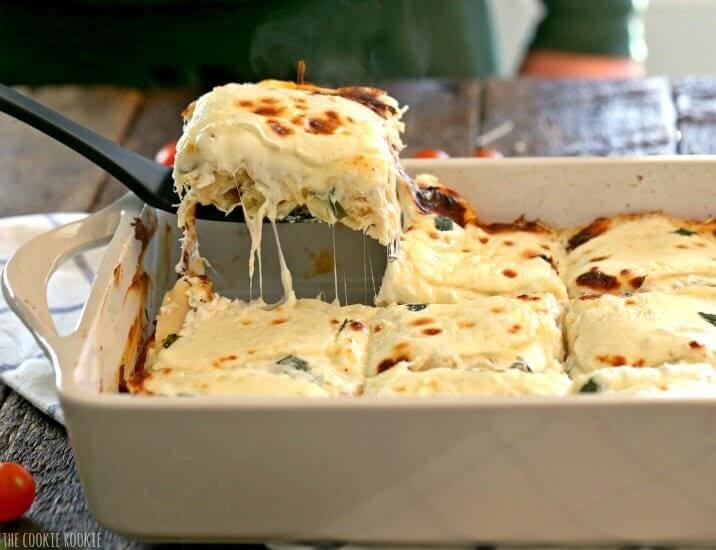 White Chicken Caprese Lasagna {The Cookie Rookie}
