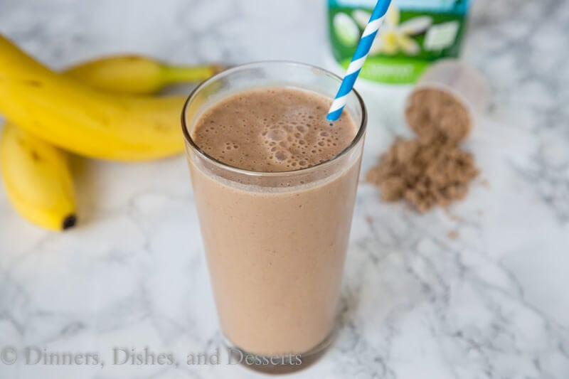 chocolate peanut butter smoothie in a cup
