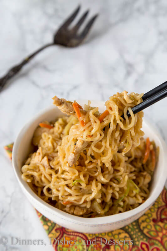 Chow Mein Noodles with Chicken is an easy recipe to get dinner on the table in minutes. So much better than take out in the same amount of time.