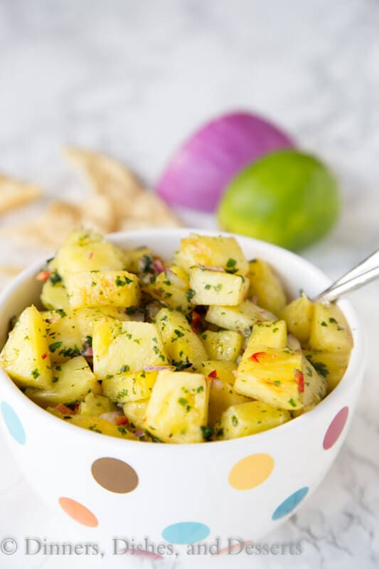 Grilled Pineapple Salsa - super fresh, sweet, a little spicy, and perfect for summer. Great over chicken, pork, fish, or just to snack on with chips!