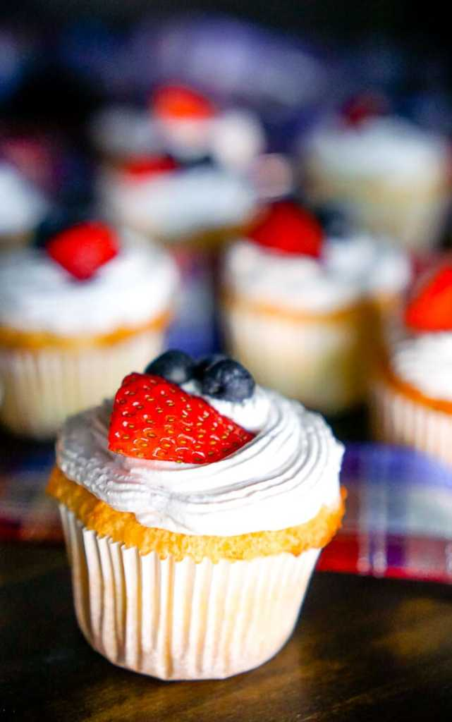 Angel Food Cupcakes with Strawberry Whipped Topping {The Love Nerds}