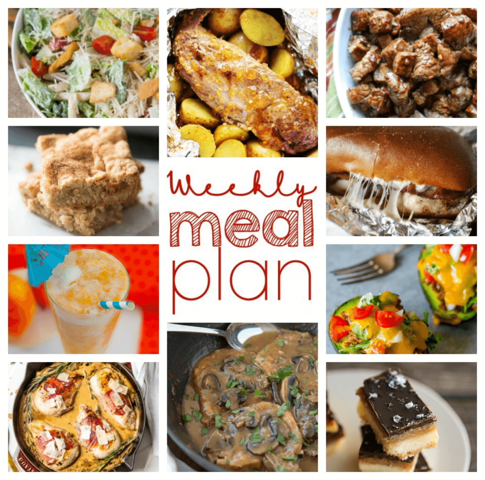 Weekly Meal Plan Week 59 – 10 great bloggers bringing you a full week of recipes including dinner, sides dishes, and desserts!