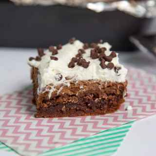 French Silk Brownies - Classic French Silk Pie turned into fudgy brownies topped with a silky chocolate mousse and whipped cream.