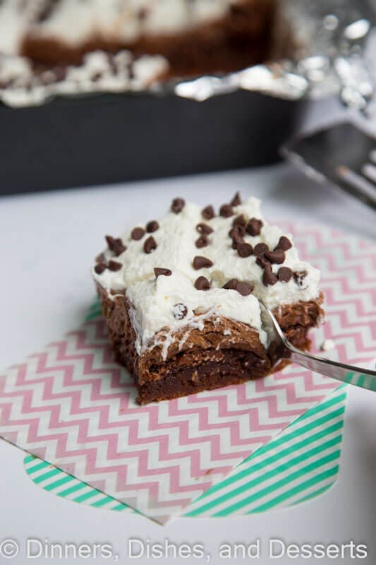 French silk brownie on a napkin