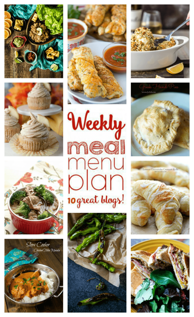 Weekly Meal Plan Week 64 – 10 great bloggers bringing you a full week of recipes including dinner, sides dishes, and desserts!