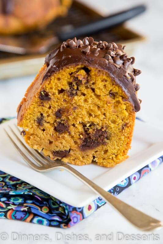 Pumpkin Chocolate Chip Cake - moist pumpkin cake with lots of chocolate chips and topped with a rich chocolate ganache.