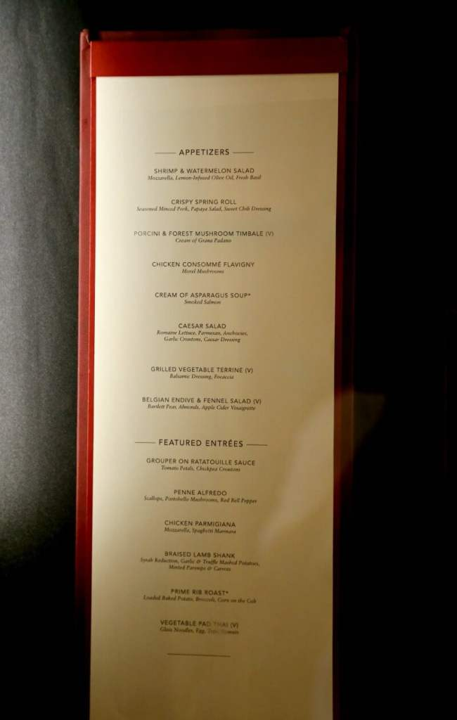 Dining Guide Pride of America - Main Dining Room Menu