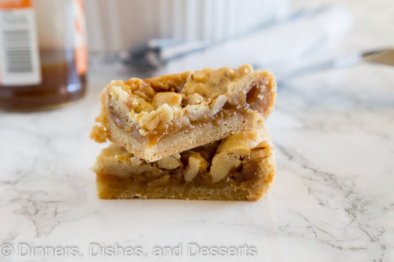 salted caramel crumble bars on a plate