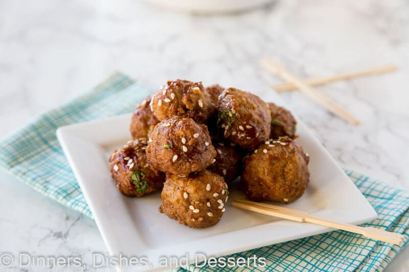 slow cooker honey garlic meatballs on a plate