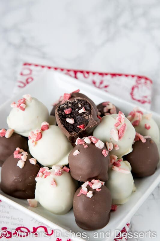Peppermint Oreo Truffles - classic Oreo truffles with bits of peppermint pieces to make them festive for the holidays.