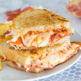 Pepperoni Pizza Grilled Cheese Sandwich - Take your favorite grilled cheese sandwich up a notch and make it taste like pepperoni pizza!