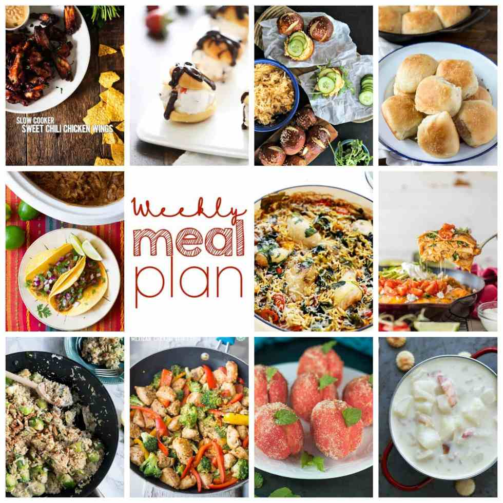 Weekly Meal Plan Week 84 – 11 great bloggers bringing you a full week of recipes including dinner, sides dishes, and desserts!