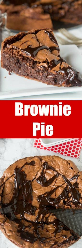 Gooey Brownie Pie - a gooey chocolate brownie with a crackly top baked into a pie and topped with hot fudge. A delicious and easy dessert for any chocolate lover.