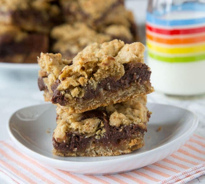 Oat bars stacked on a plate